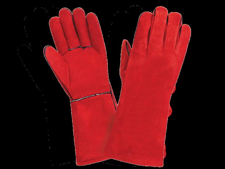 Краги спилковые красные с подкладкой